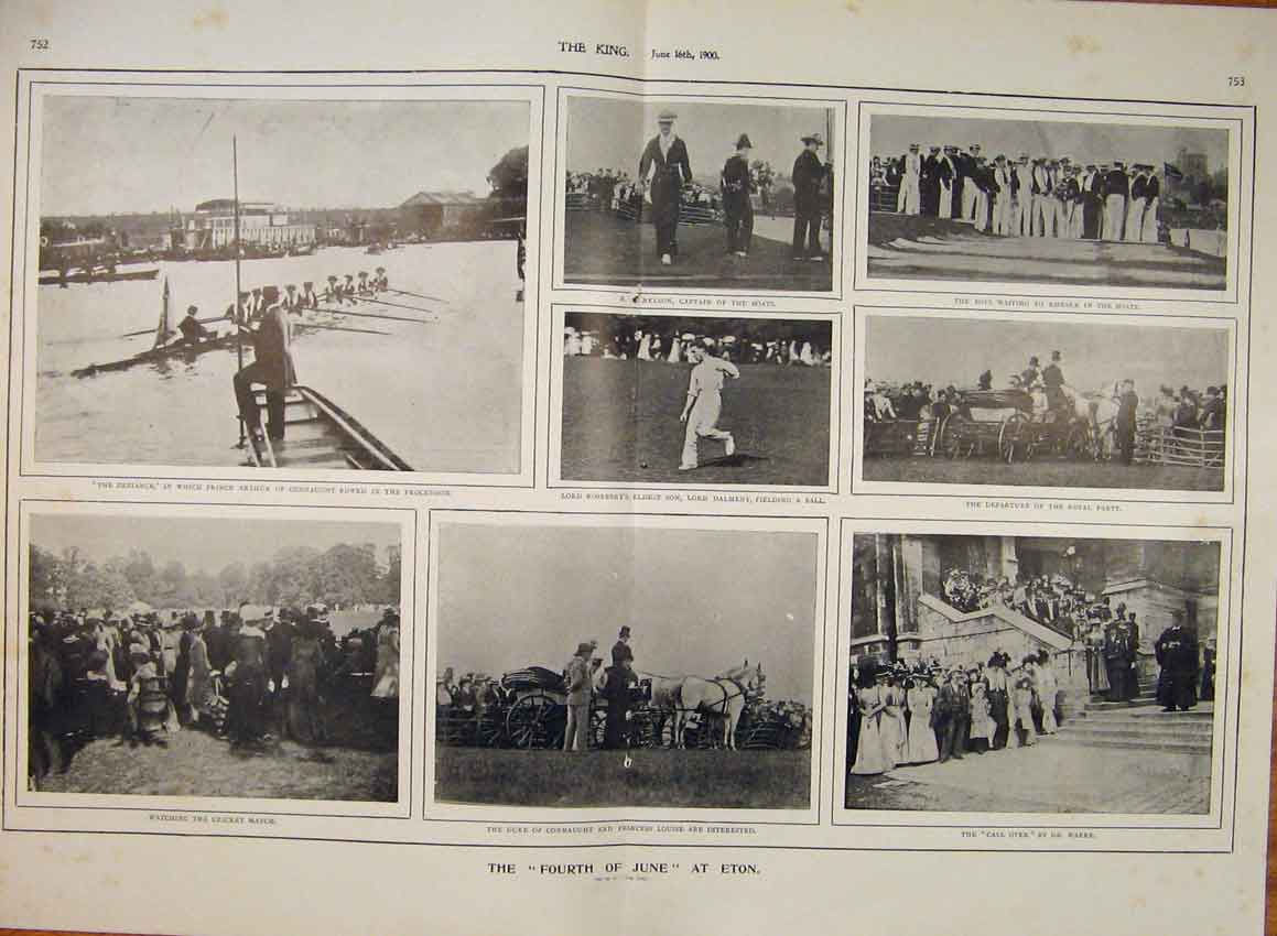 Print Eton Boat Race Cricket Match Nelson Warre Dalmeny 1900 51T6560 Old Original