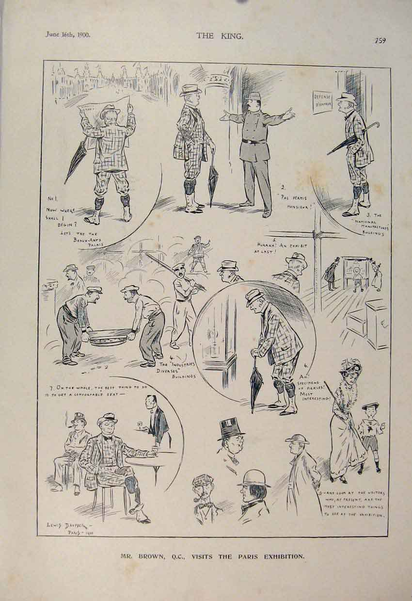 Print Brown Paris Exhibition Sketches Sketch 1900 596560 Old Original