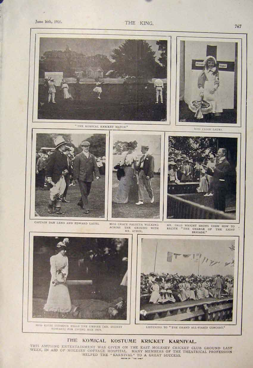 [Print Cricket Match Comedy Comical Carnival Moseley 1900 676560 Old Original]