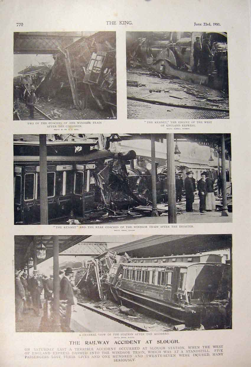 Print Railway Accident Slough Station Windsor Train Kennet 706560 Old Original