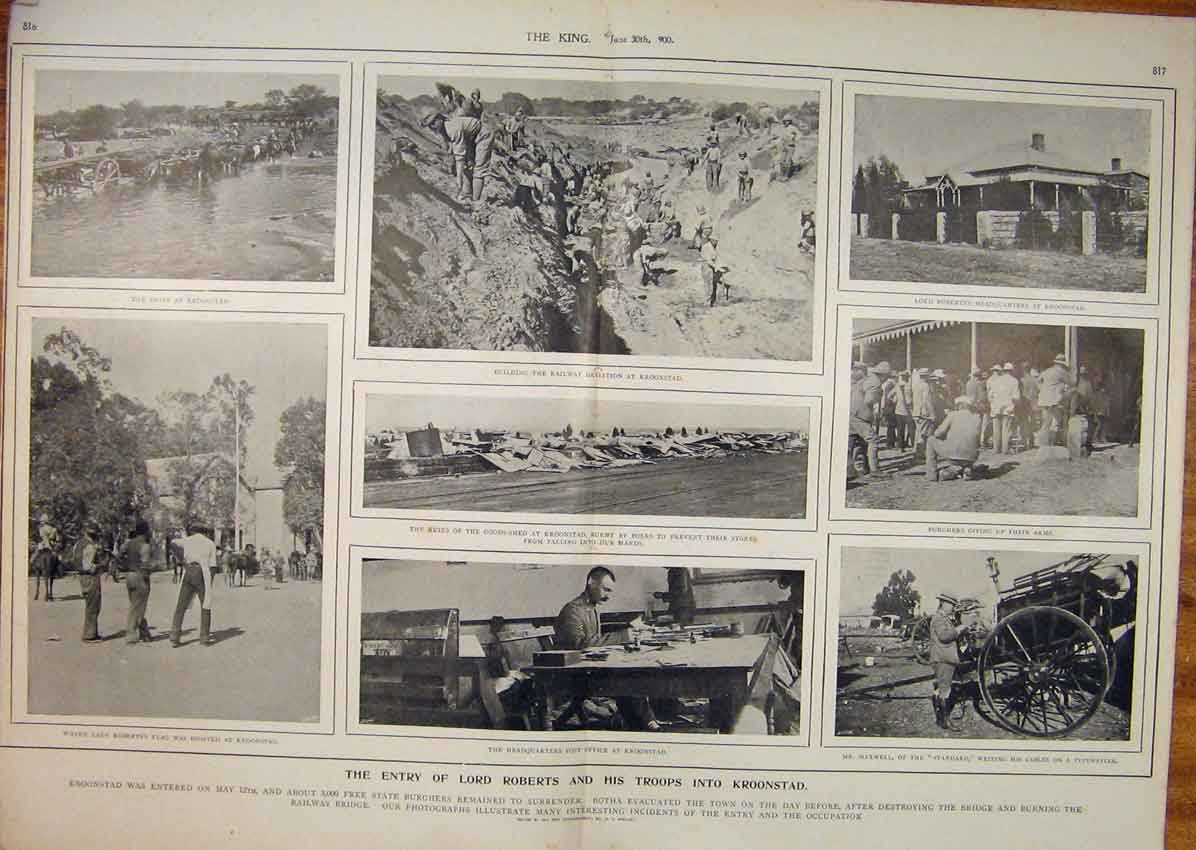 Print Boer War Africa 1900 Roberts Troops Kroonstad Shelley 15T6560 Old Original