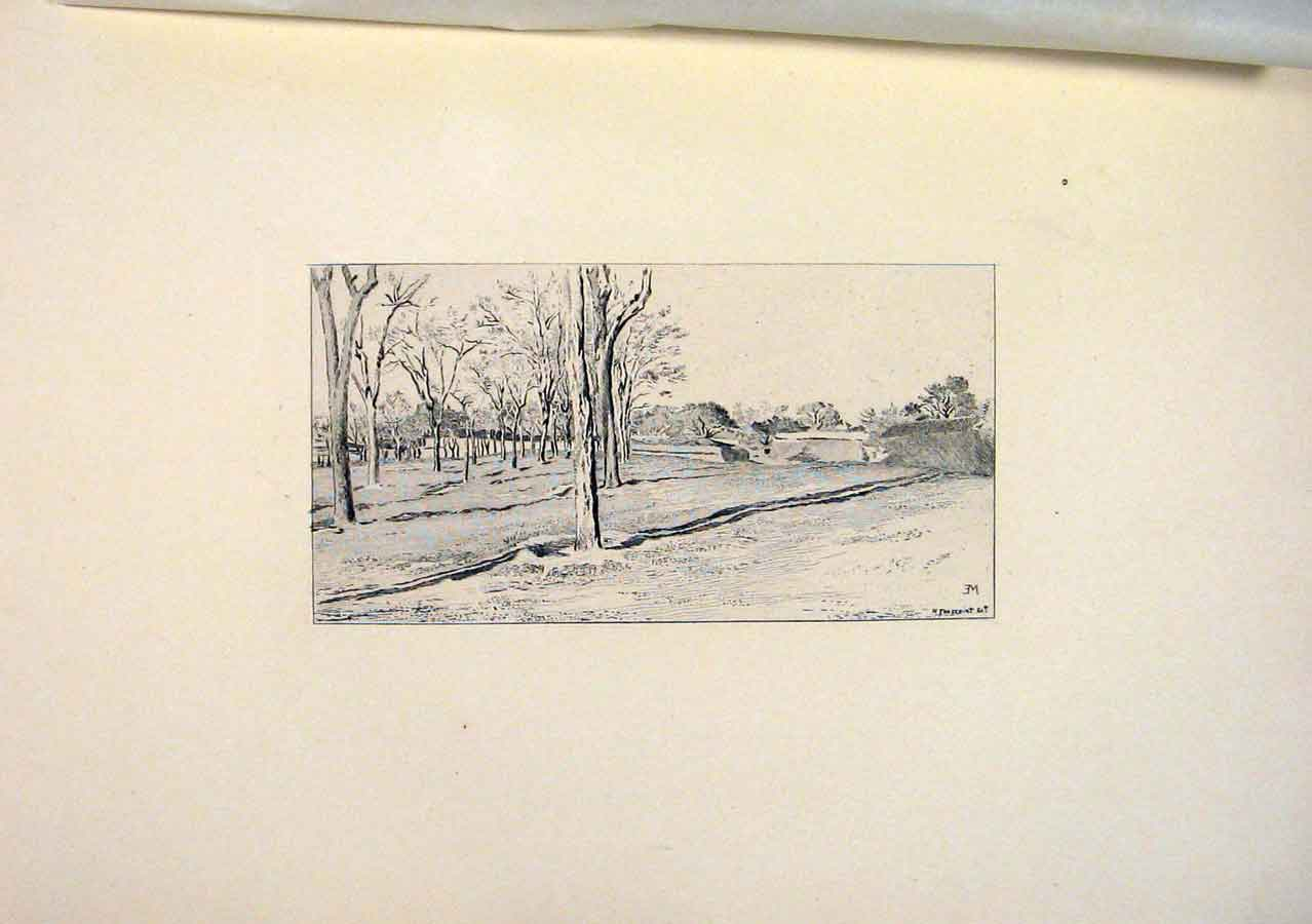 Print Toussaint Landscape View Meissonier Etching 1893 456581 Old Original