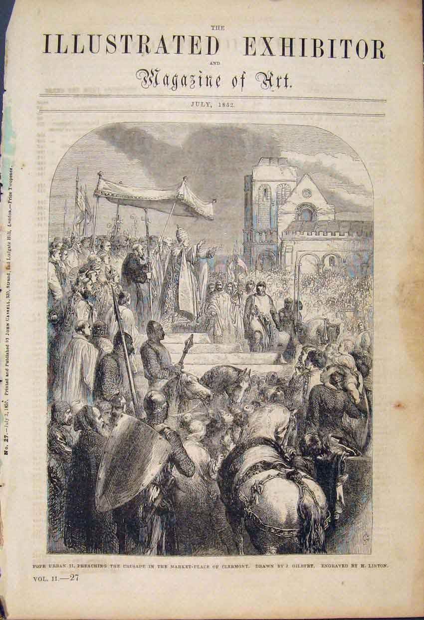 Print Pope Preaching Crusade Market Place Clermont 026591 Old Original