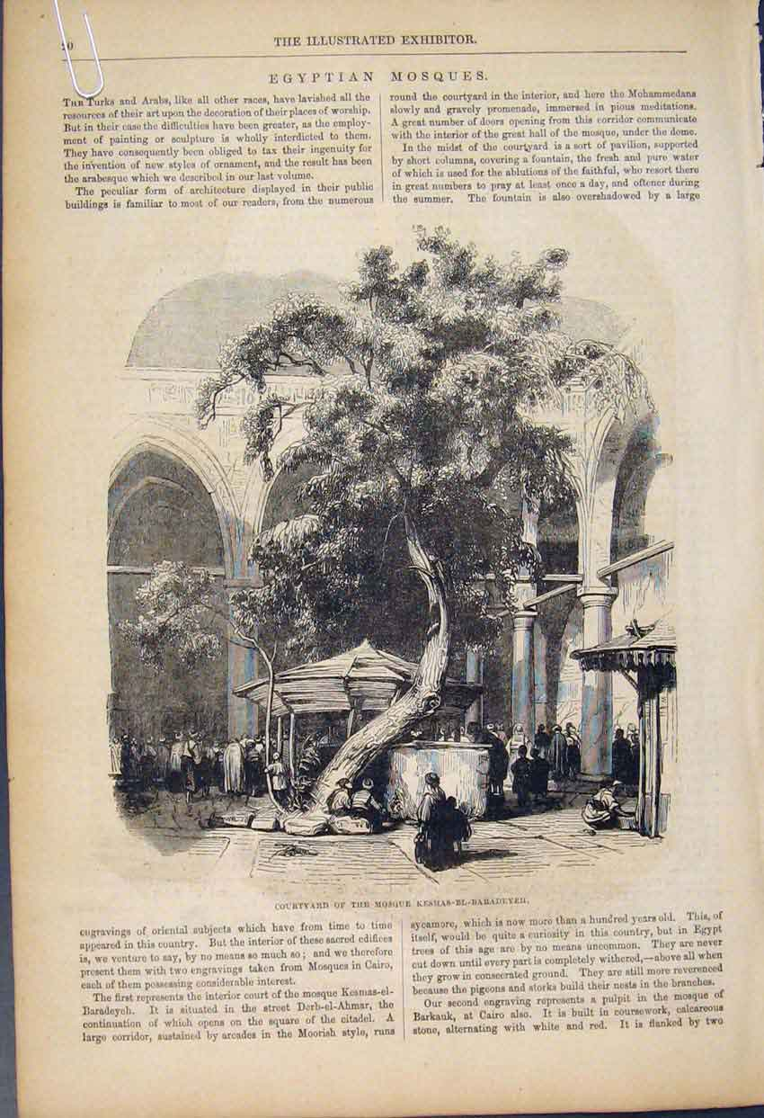 Print Egyptian Mosques Courtyard Fine Art 1852 20A6591 Old Original