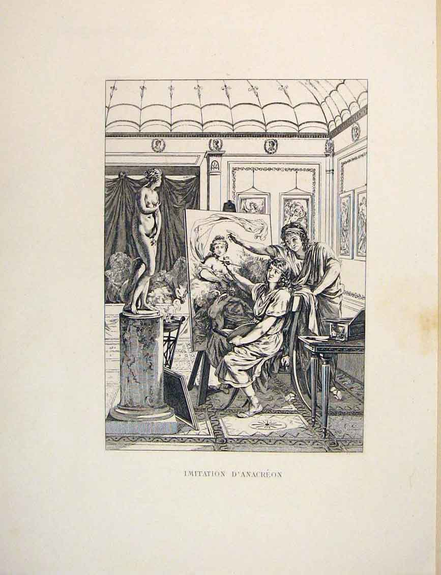 Print Iris Anacreon Statue Artist Fontaine Etching 1883 016601 Old Original