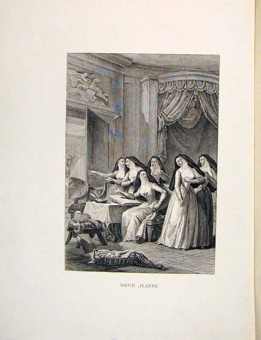Print Sister Jean Jeanne Nuns Fontaine Etching 1883 026601 Old Original