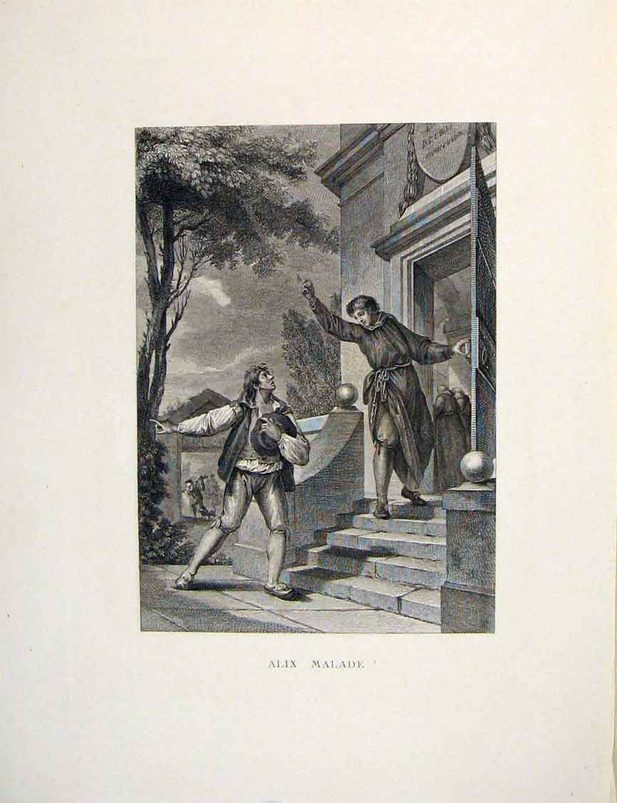 Print Alix Sick Malade Fontaine Etching 1883 046601 Old Original