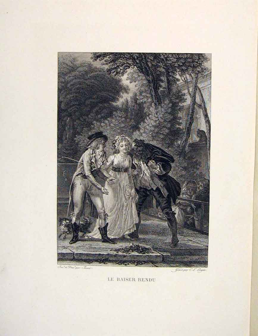 Print Admirers Suitors Lady Men Fontaine Etching 1883 056601 Old Original