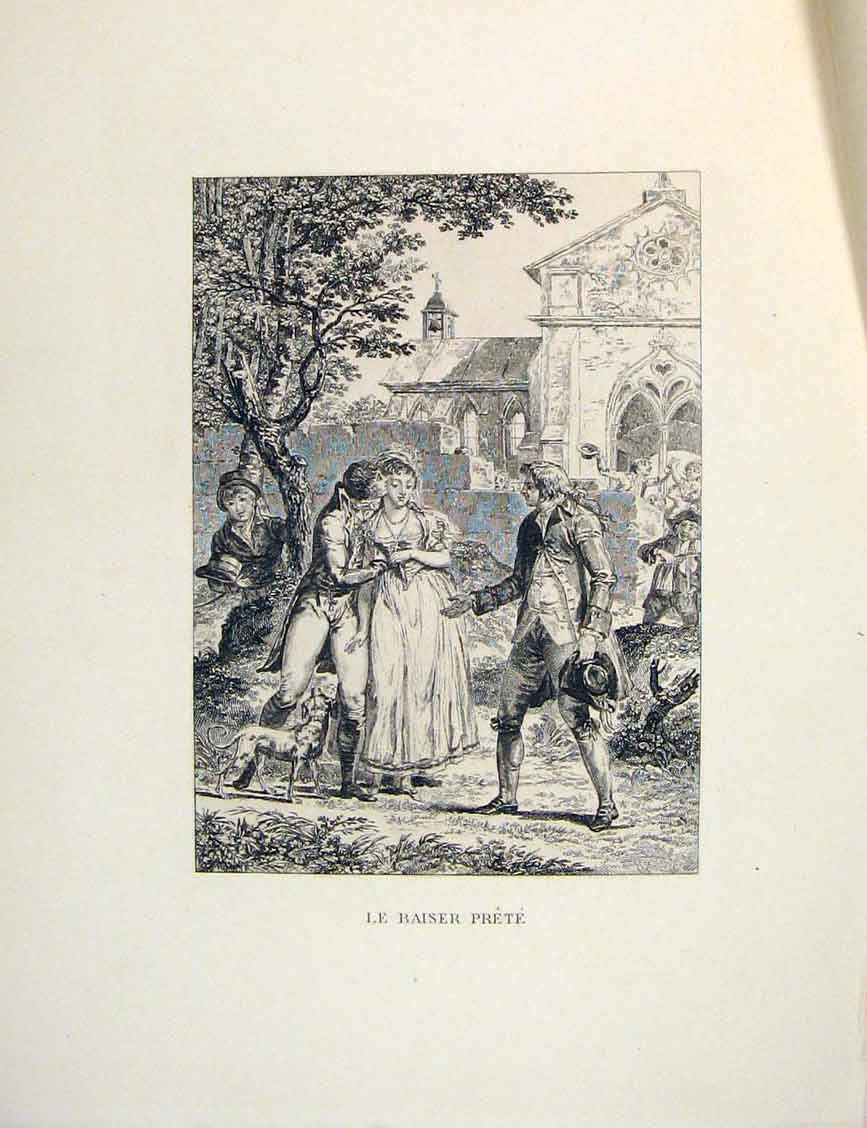 Print Pretty Lady Men Suitors Admirer Fontaine Etching 1883 066601 Old Original