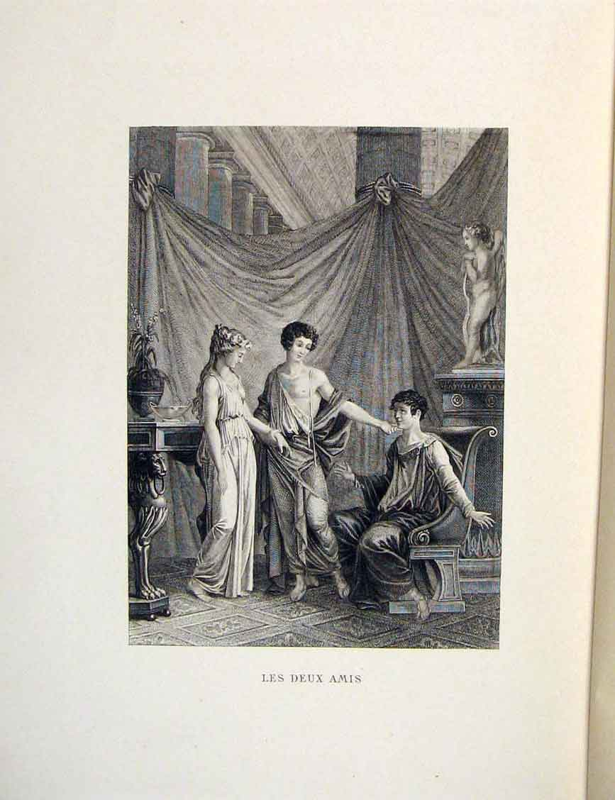 Print Two Friends Ladies Fontaine Etching 1883 076601 Old Original