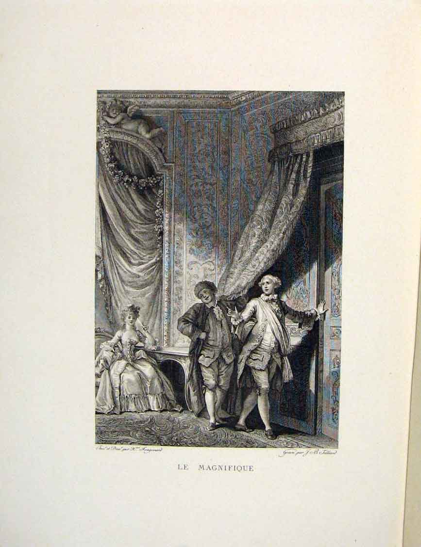 Print Magnificent Lady Beautiful Men Fontaine Etching 1883 156601 Old Original