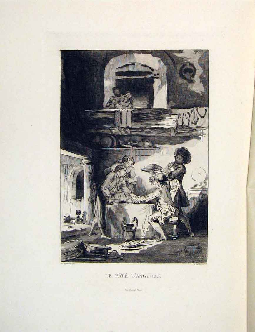 Print Pate D'Anguille Dinner Lady Man Fontaine Etching 1883 186601 Old Original