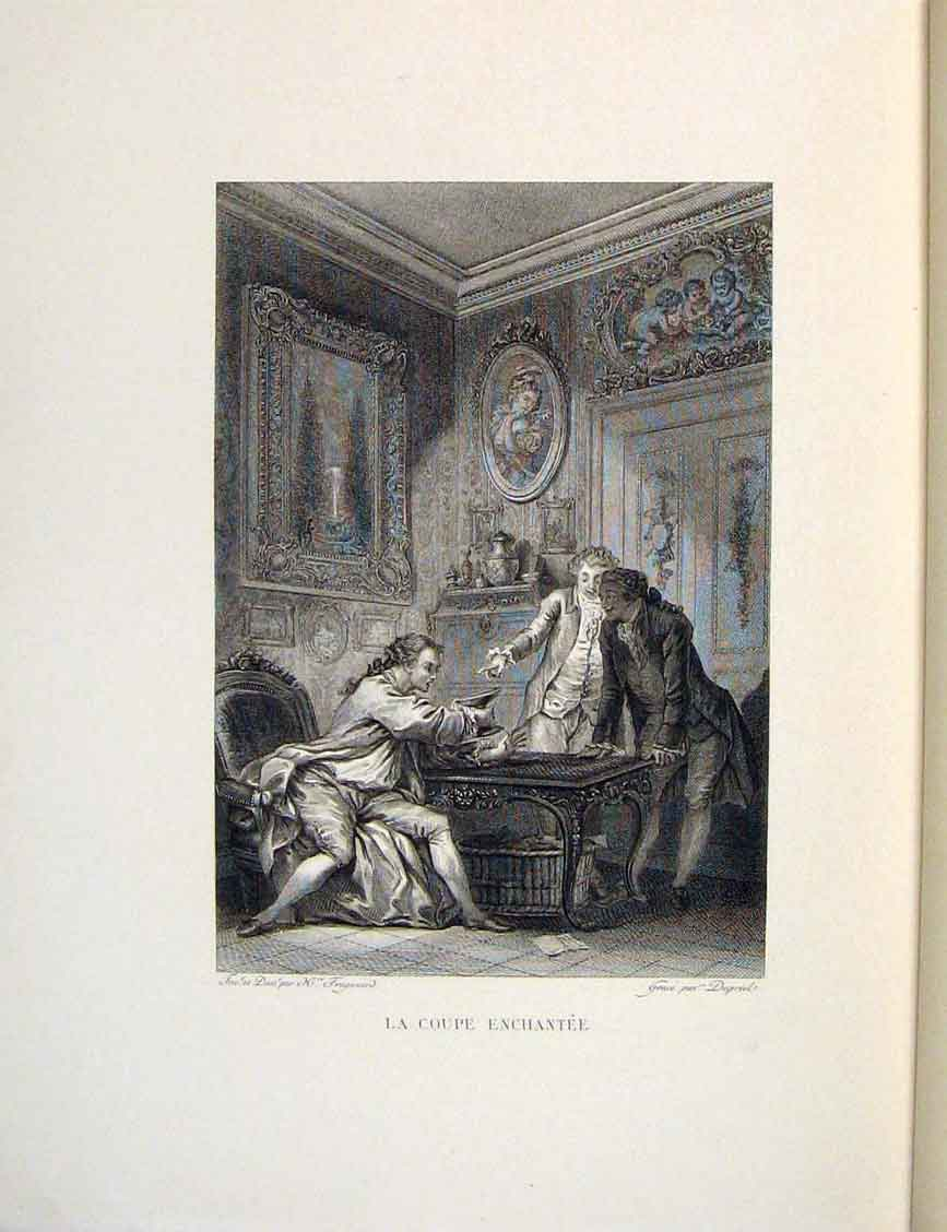 Print Cup Enchantment Gentlemen Fontaine Etching 1883 226601 Old Original