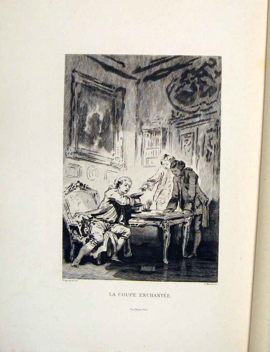 Print Enchantment Cup Man Lady Fontaine Etching 1883 236601 Old Original