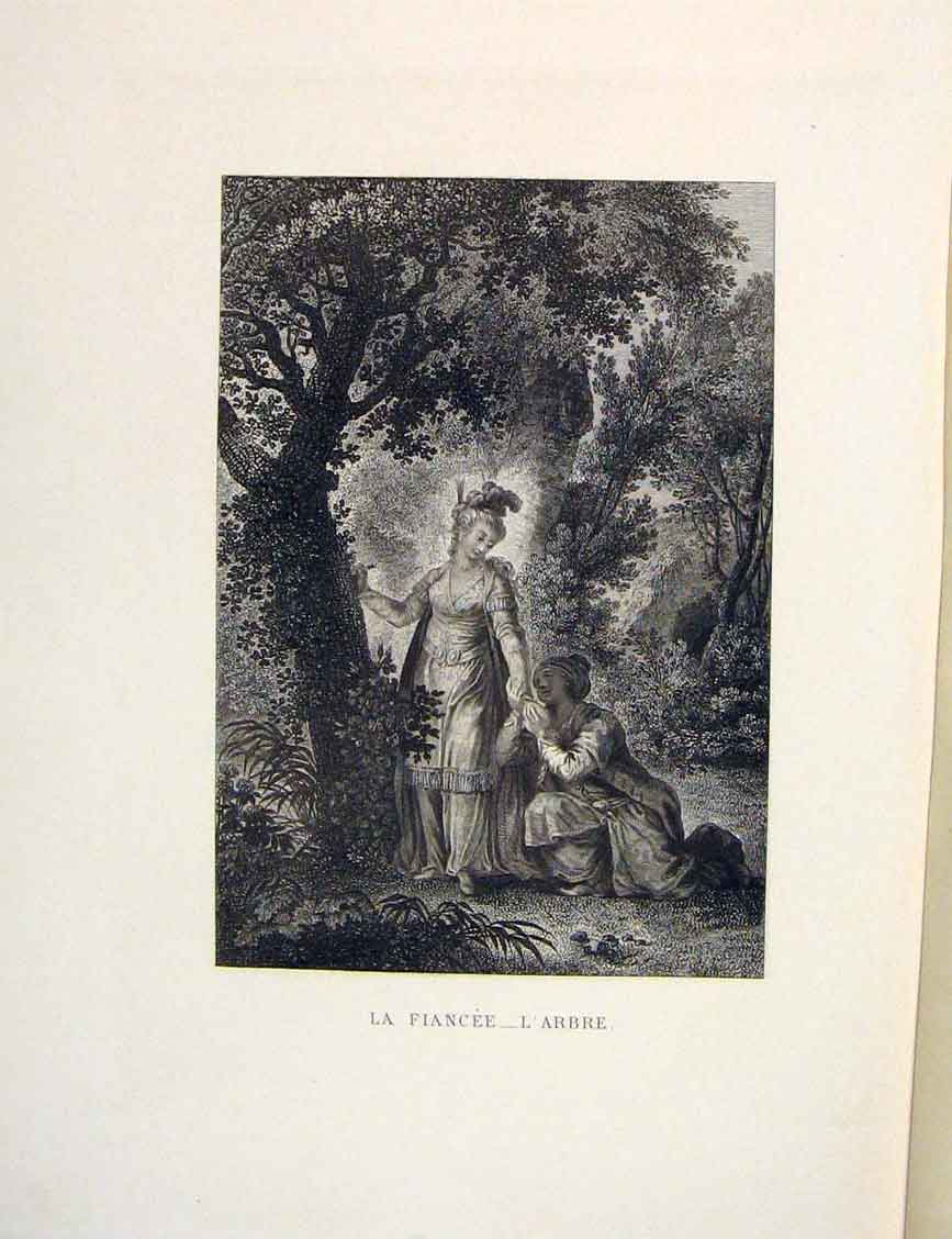 Print Lady Fiancee Forest Man Fontaine Etching 1883 256601 Old Original