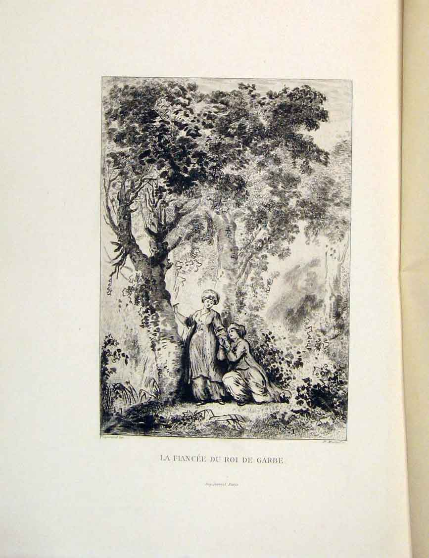 Print Forest Fiancee Lovers Fontaine Etching 1883 266601 Old Original