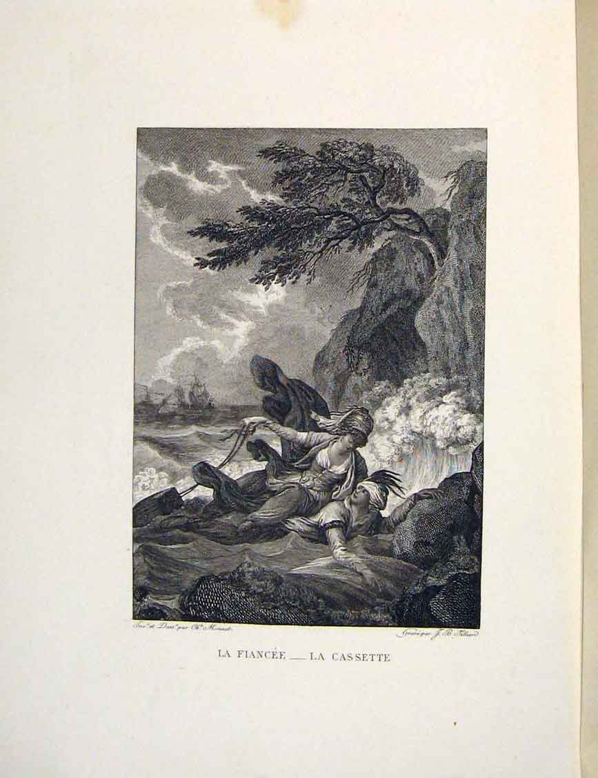 Print Fiancee Cassette Case Beach Fontaine Etching 1883 276601 Old Original