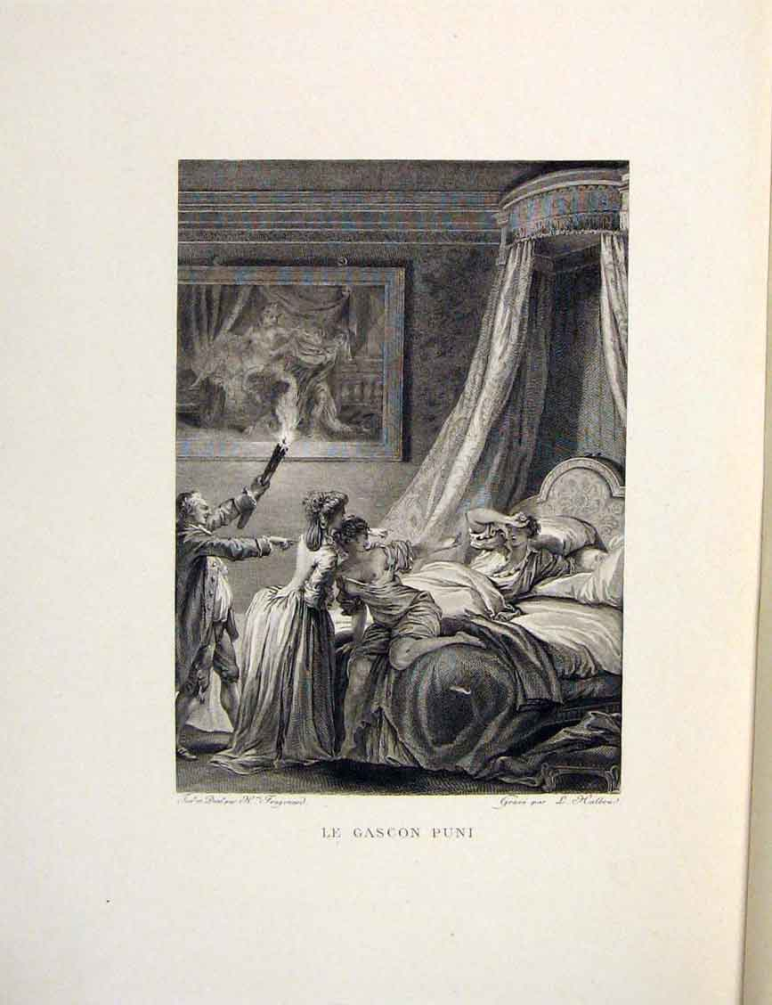 Print Punishment Gascon Bedroom Fontaine Etching 1883 286601 Old Original