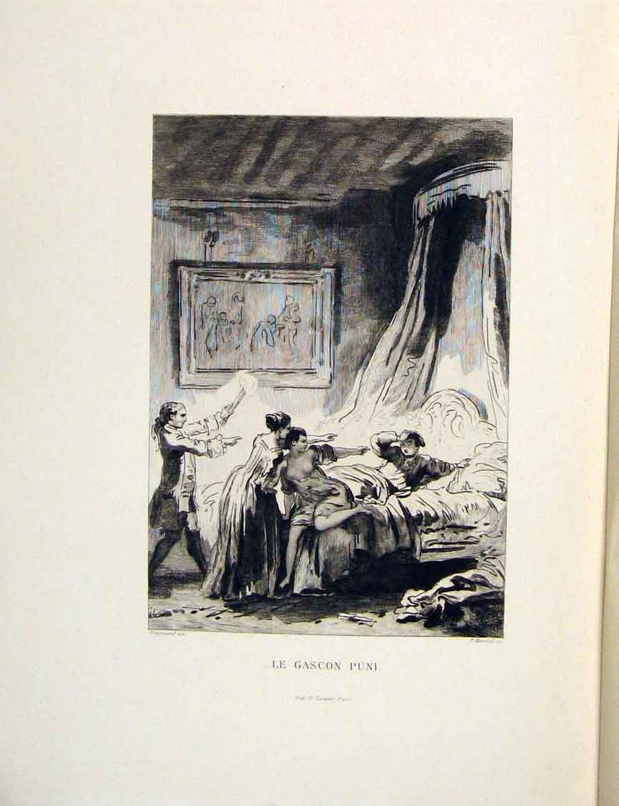 Print Gascon Puni Boy Bed Lady Fontaine Etching 1883 296601 Old Original