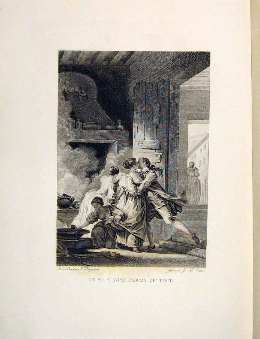 Print Farewell Kiss Goodbye Fontaine Etching 1883 306601 Old Original