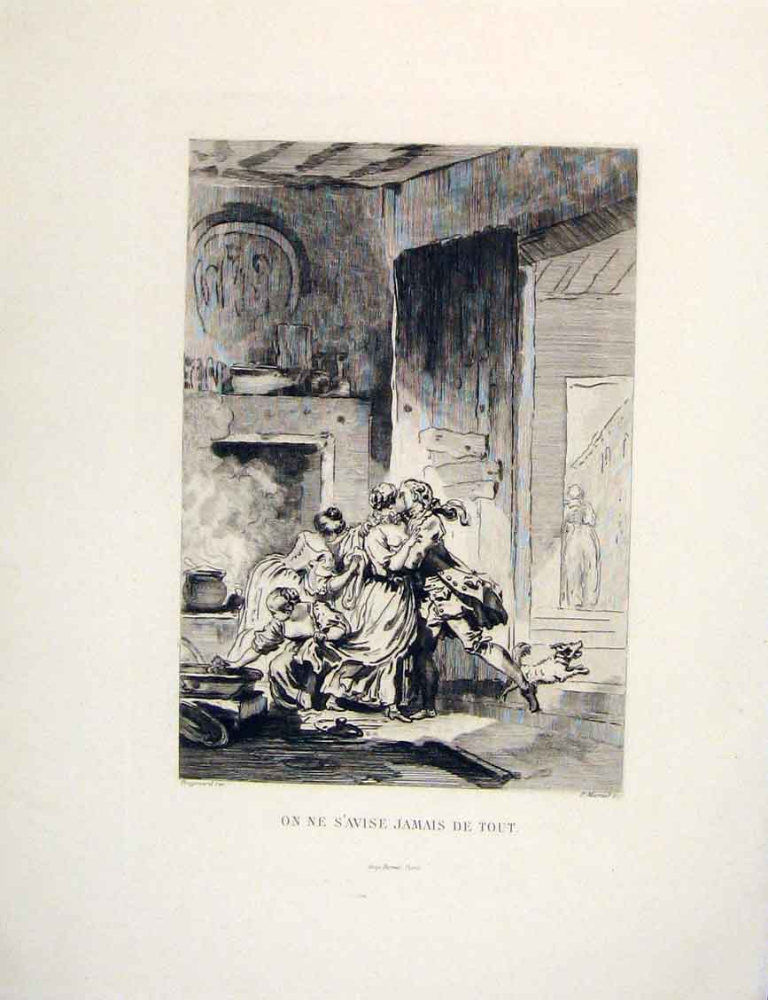 Print Lady Man Kiss Farewell Fontaine Etching 1883 Lovers 316601 Old Original