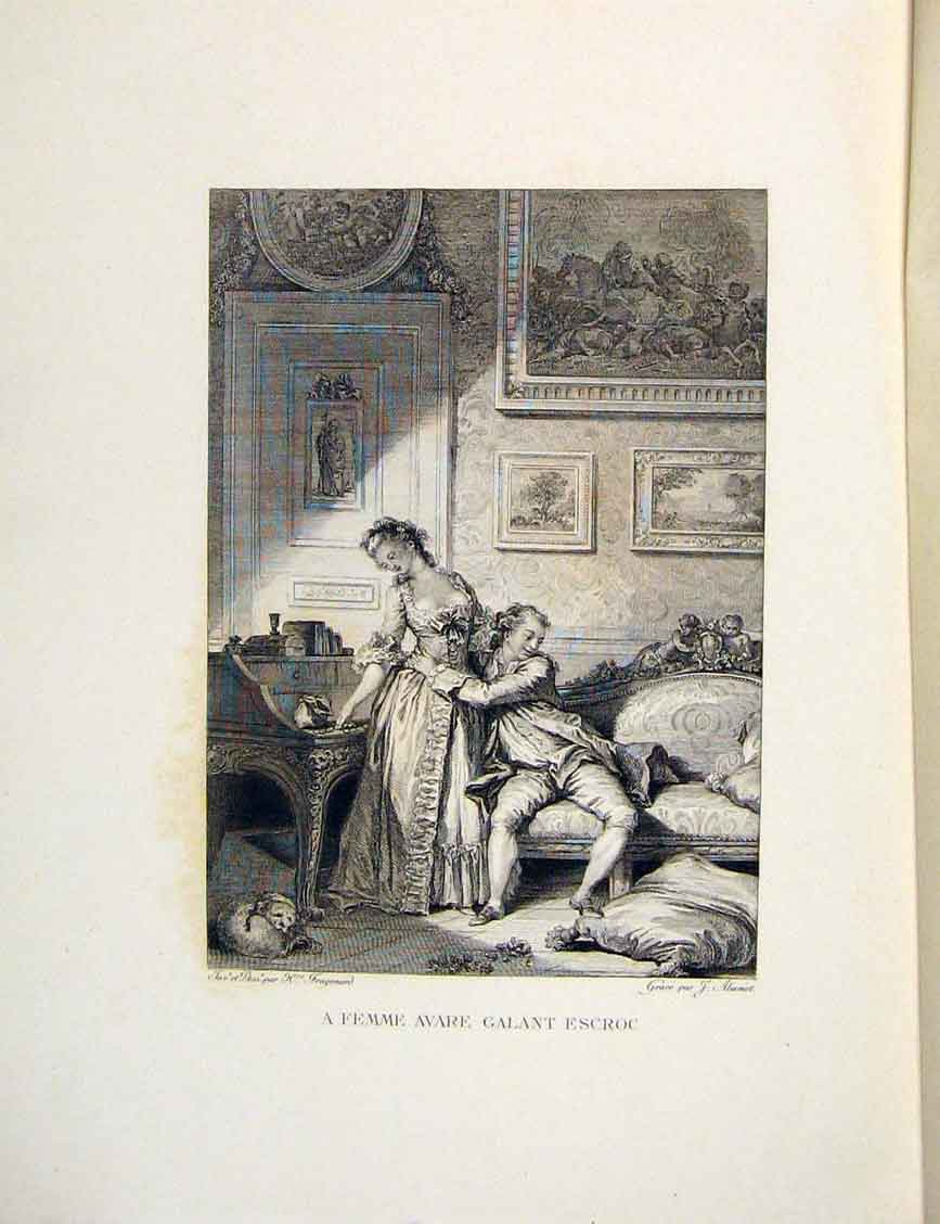 Print Lady Man Galant Escroc Fontaine Etching 1883 French 326601 Old Original