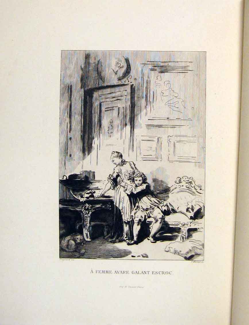 Print Woman Suitor Man Fontaine Etching 1883 336601 Old Original