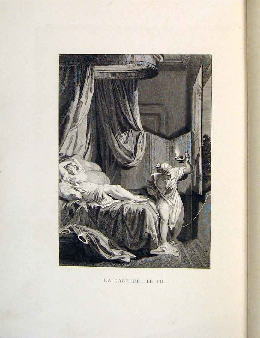 Print Son Gamble Lady Man Fontaine Etching 1883 Bedroom 366601 Old Original