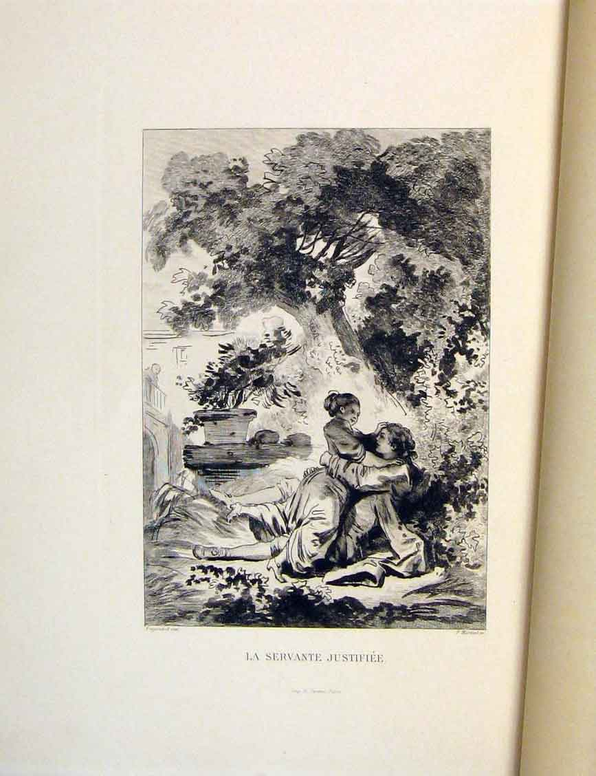 Print Servant Fragonard Fontaine Etching 1883 Lady Man 406601 Old Original