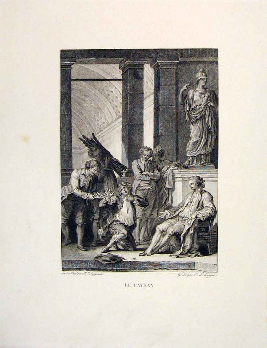 Print Peasant Master Signor Fontaine Etching 1883 436601 Old Original