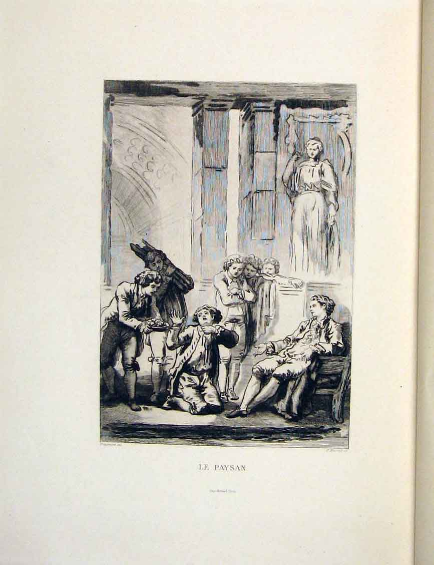 Print Master Servant Apology Fontaine Etching 1883 446601 Old Original