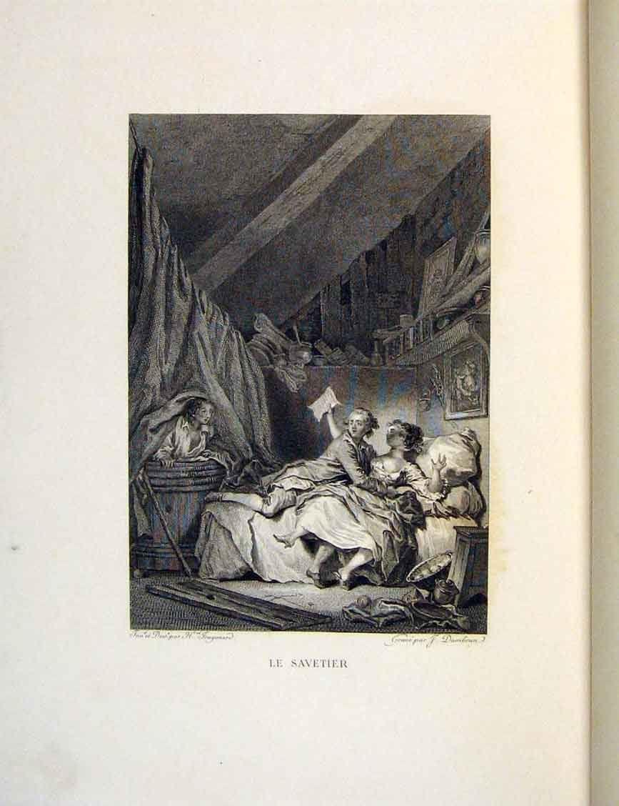 Print Savetier Bath-Tub Child Fontaine Etching 1883 Lovers 456601 Old Original