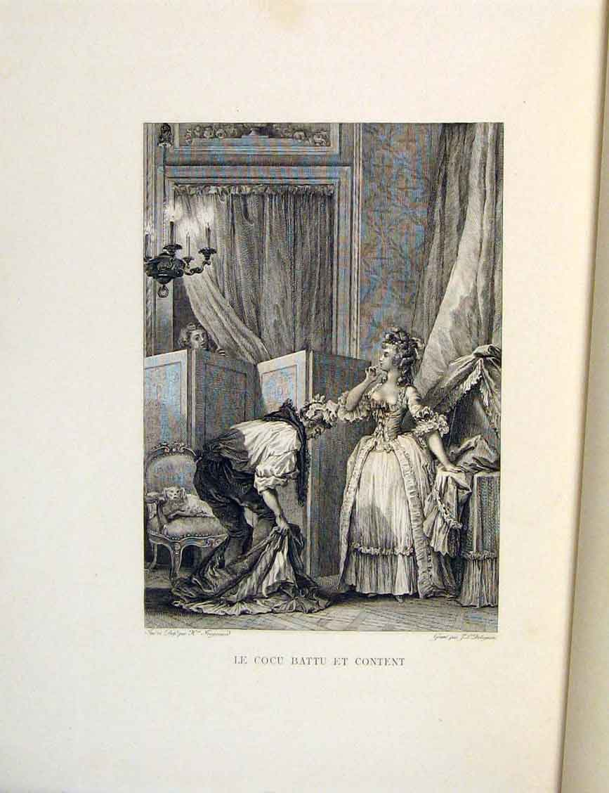 Print Mari Cocu Battu Et Content Fontaine Etching 1883 496601 Old Original