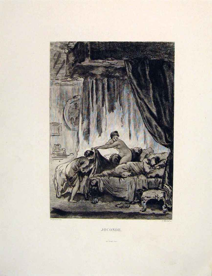 Print Joconde Fragonard Bedroom Bed Martial Fontaine Etching 536601 Old Original