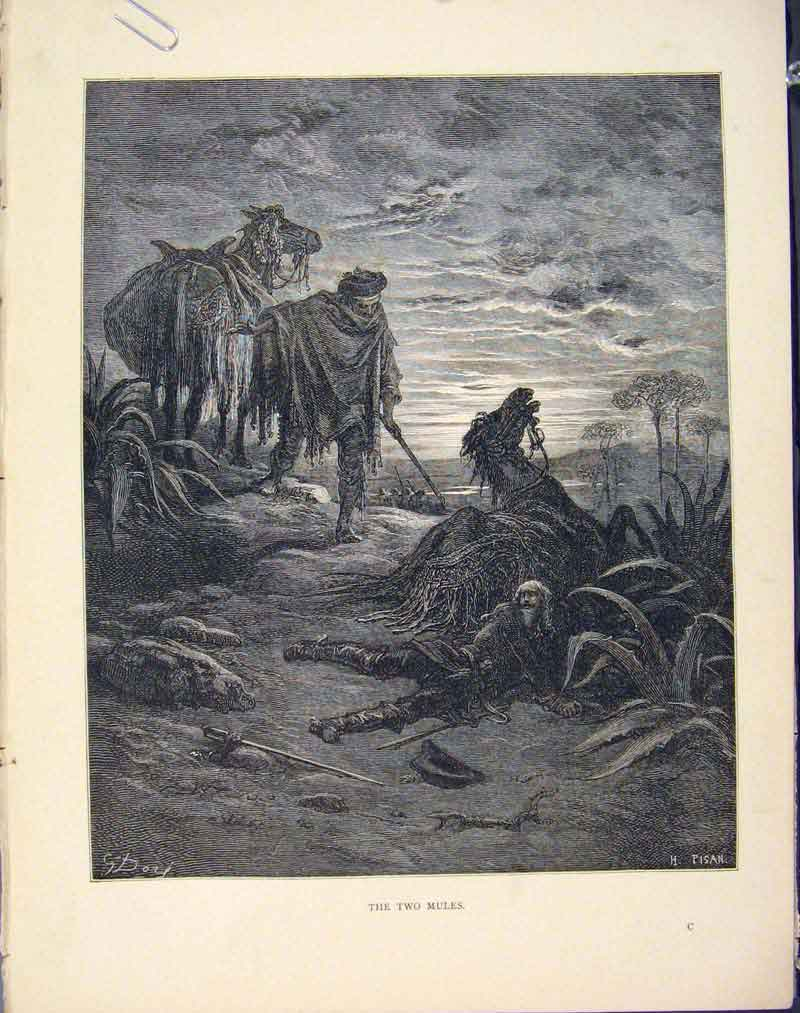 Print Two Mules Aesop Fable Iv Story Image 046611 Old Original