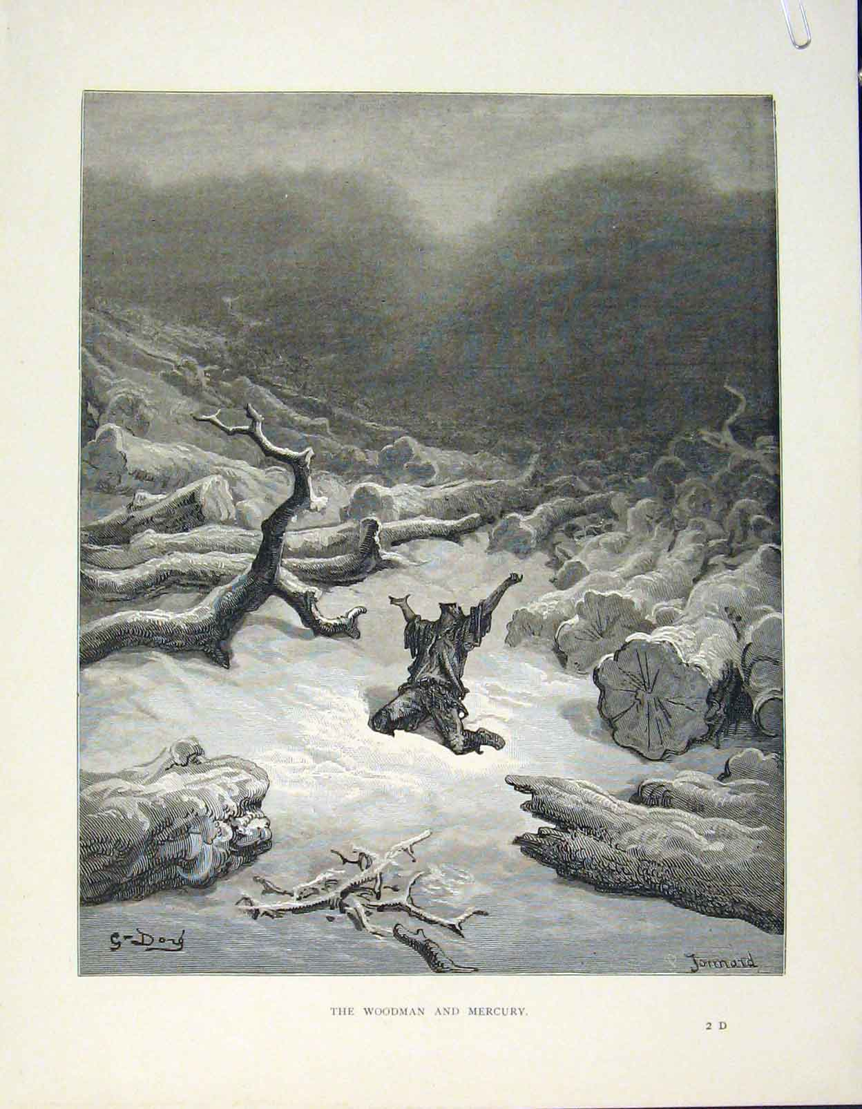 Print Woodman Mercury Aesop Fable Lxxi C1868 726611 Old Original