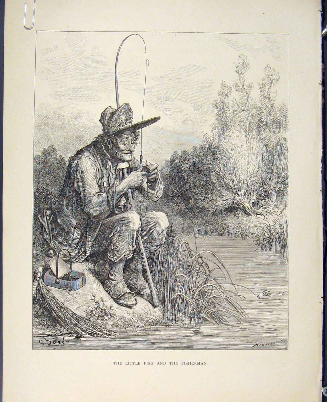 Print Aesop Fable Lxxv Little Fish Fisherman Story 756611 Old Original