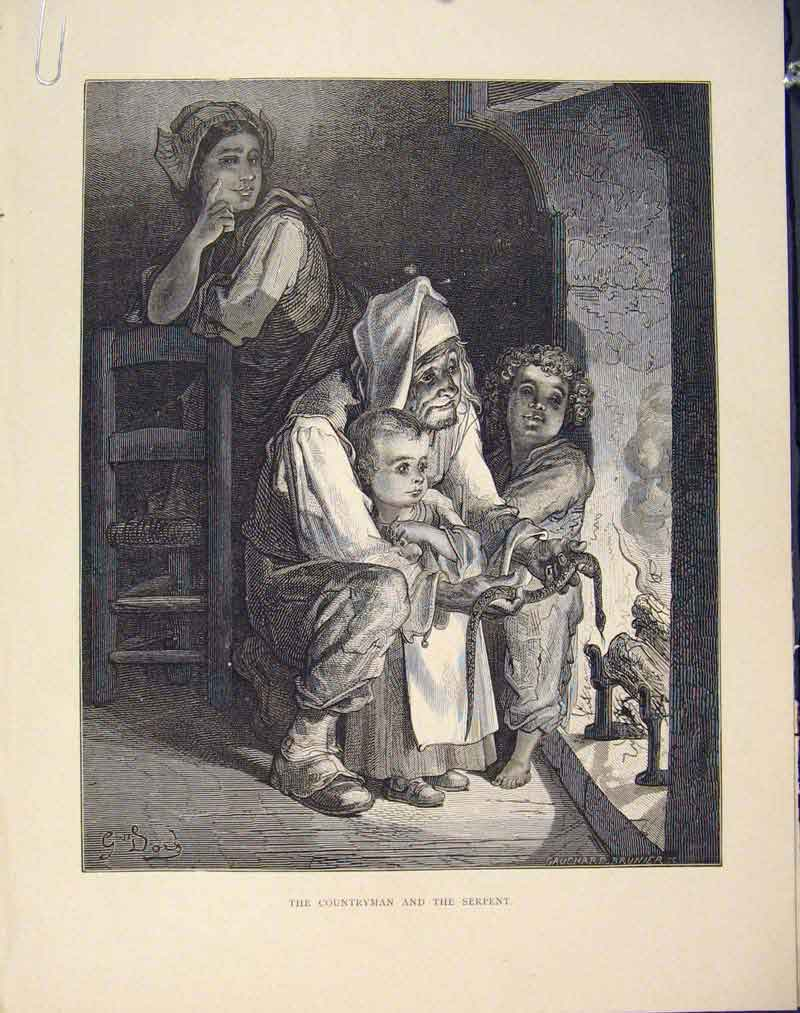 Print Countryman Serpent Aesop Fable Cxiii 1868 136611 Old Original