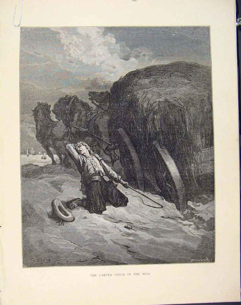 Print Cater Stuck Mud Aesop Fable C1868 Cxviii 186611 Old Original