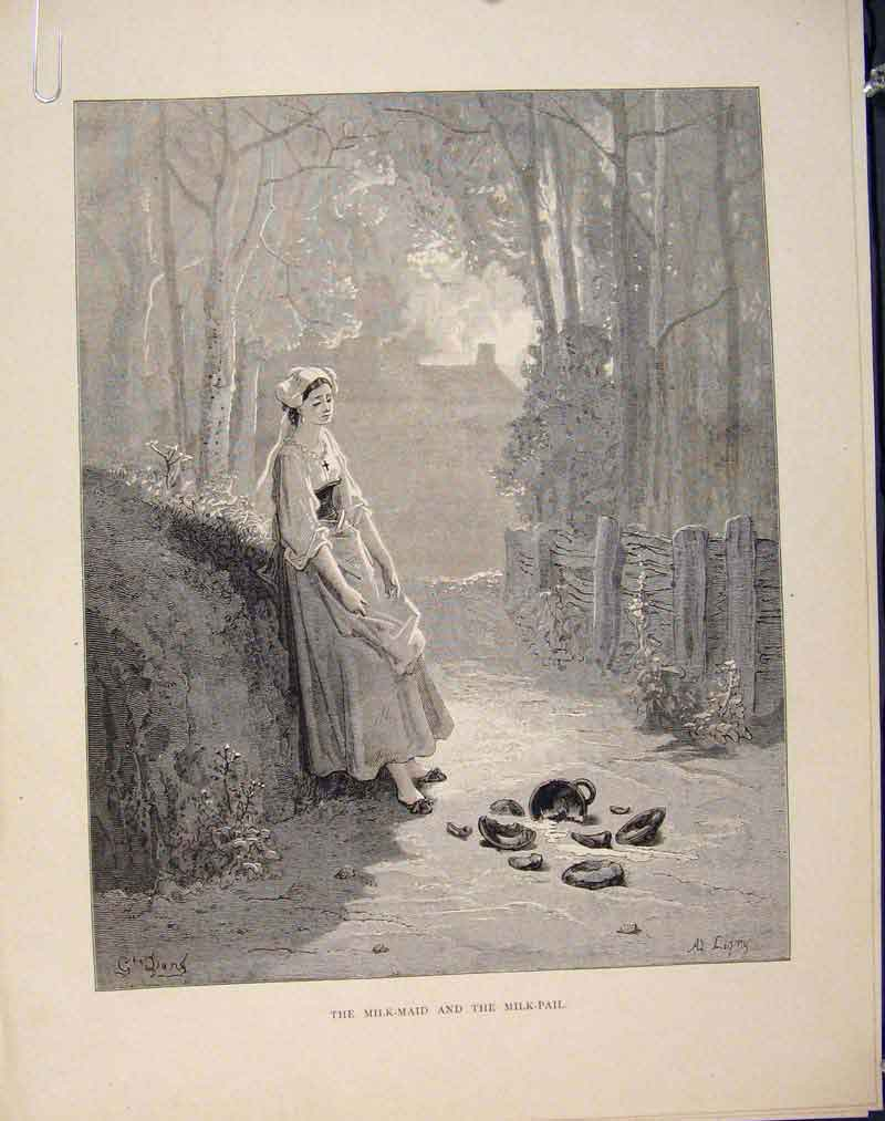 Print Aesop Fable Cxxxii Milk Maid Pail C1868 336611 Old Original