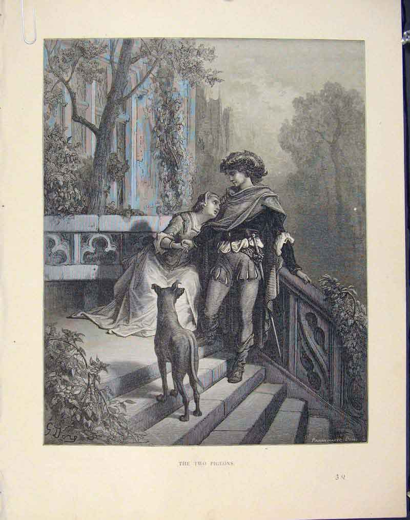 [Print Two Pigeons Aesop Fable Clxvii C1868 Story 676611 Old Original]