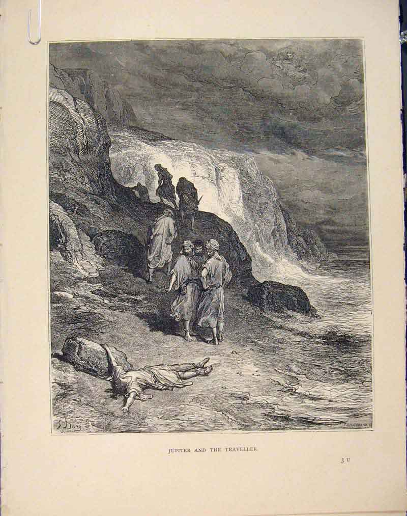 Print Aesop Fable Clxxiv Jpiter Traveller C1868 Art 746611 Old Original