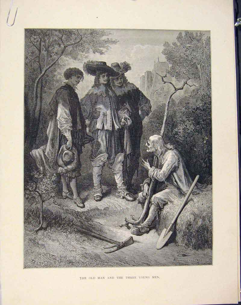 Print Man Three Young Men Aesop Fable Ccvii Art 076611 Old Original