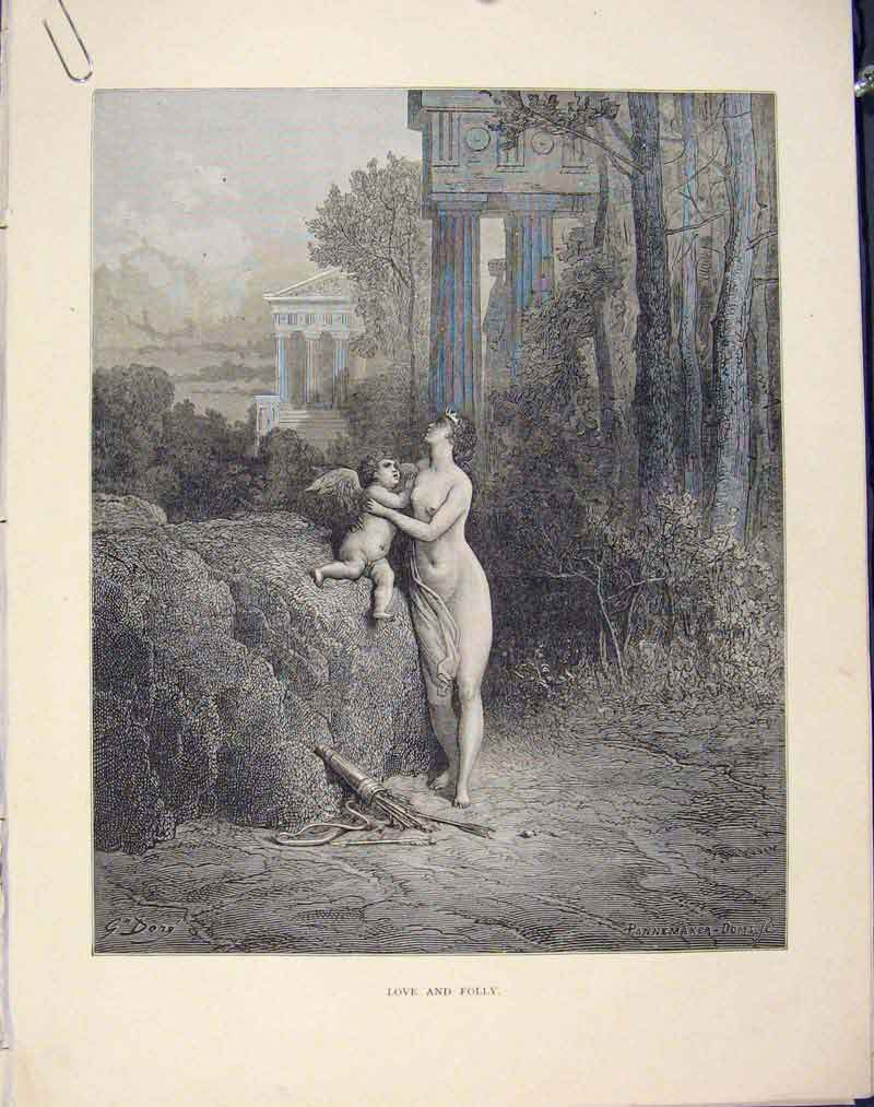 Print Aesop Fable Ccxxii Love Folly 1868 Story Art 236611 Old Original