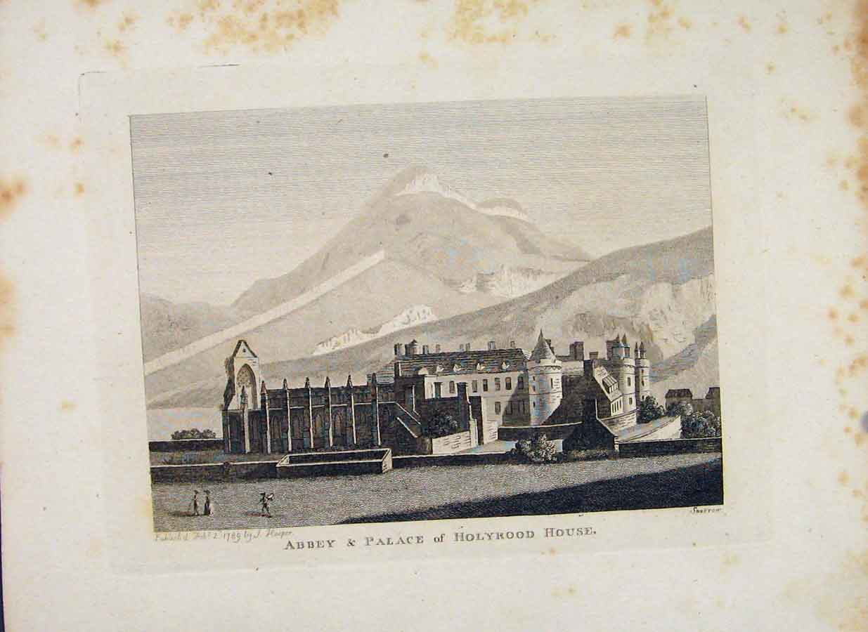 Print Edinbrugh Scotland Abbey Palace Holyrood House 066651 Old Original