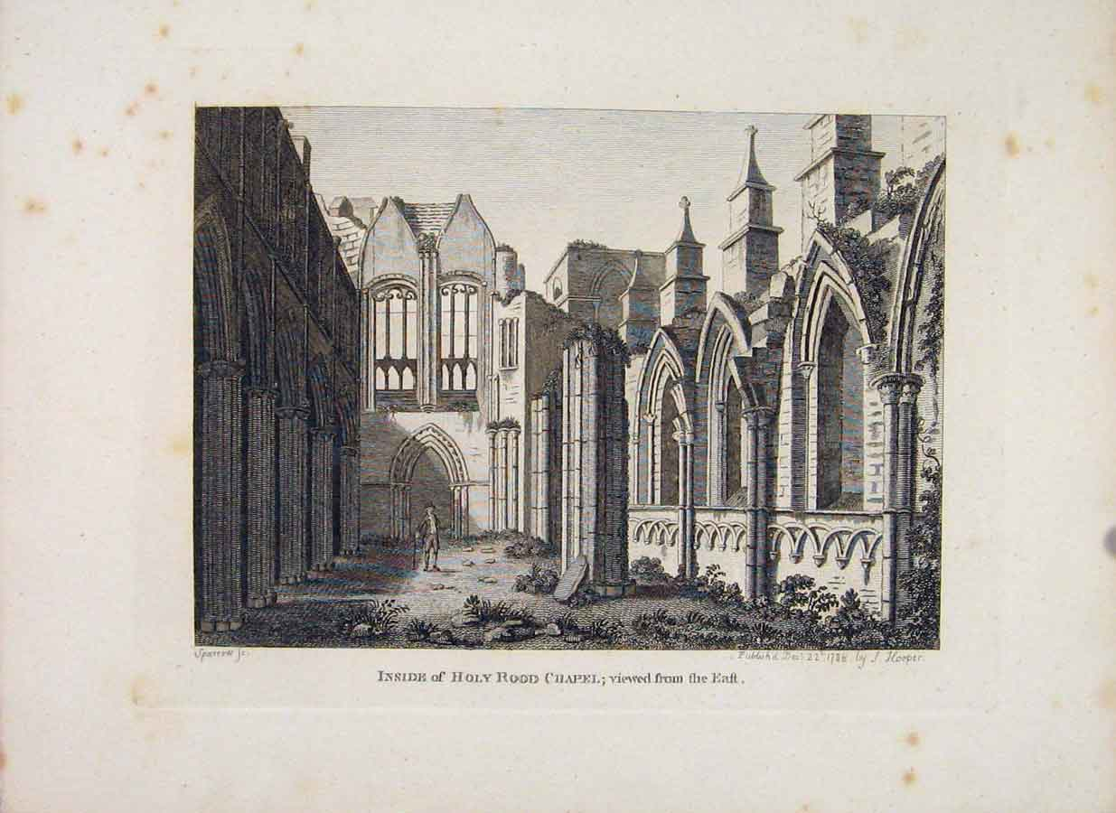 Print Edinburgh Inside Holy Road Chapel C1797 096651 Old Original