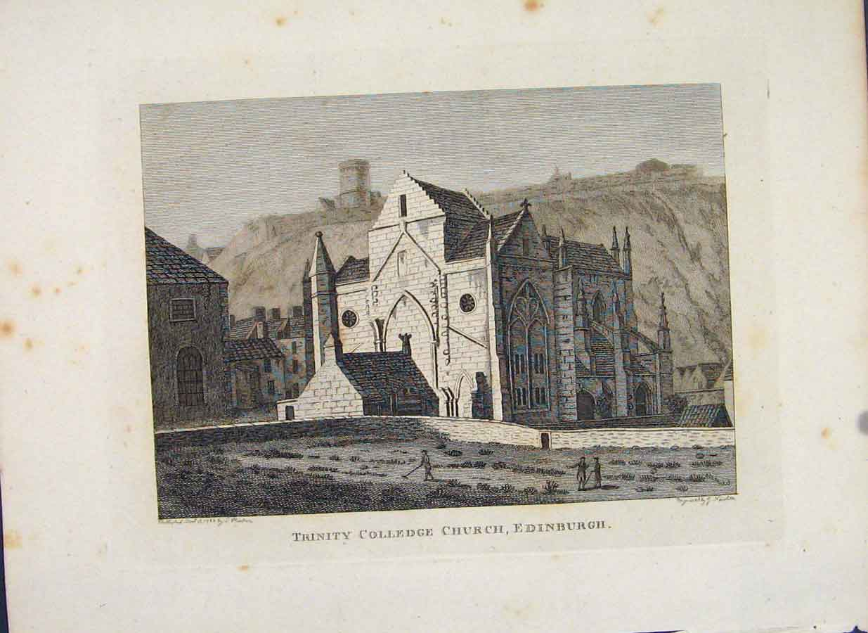 Print Trinity Colledge Church Edinburgh Scotland 116651 Old Original