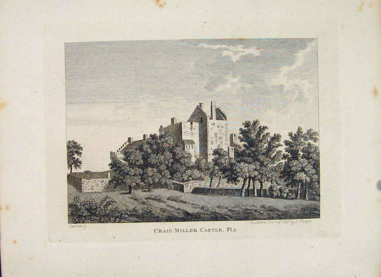 Print Craig Miller Castle Plate 2 Scotland Edinburgh 206651 Old Original