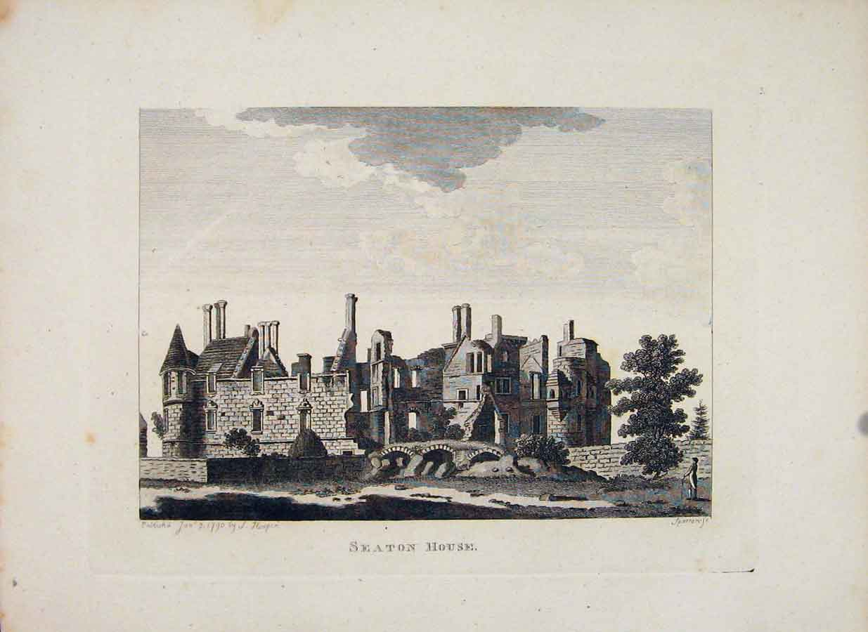 Print Seaton House Scotland Edinburgh Fine Art 1797 286651 Old Original
