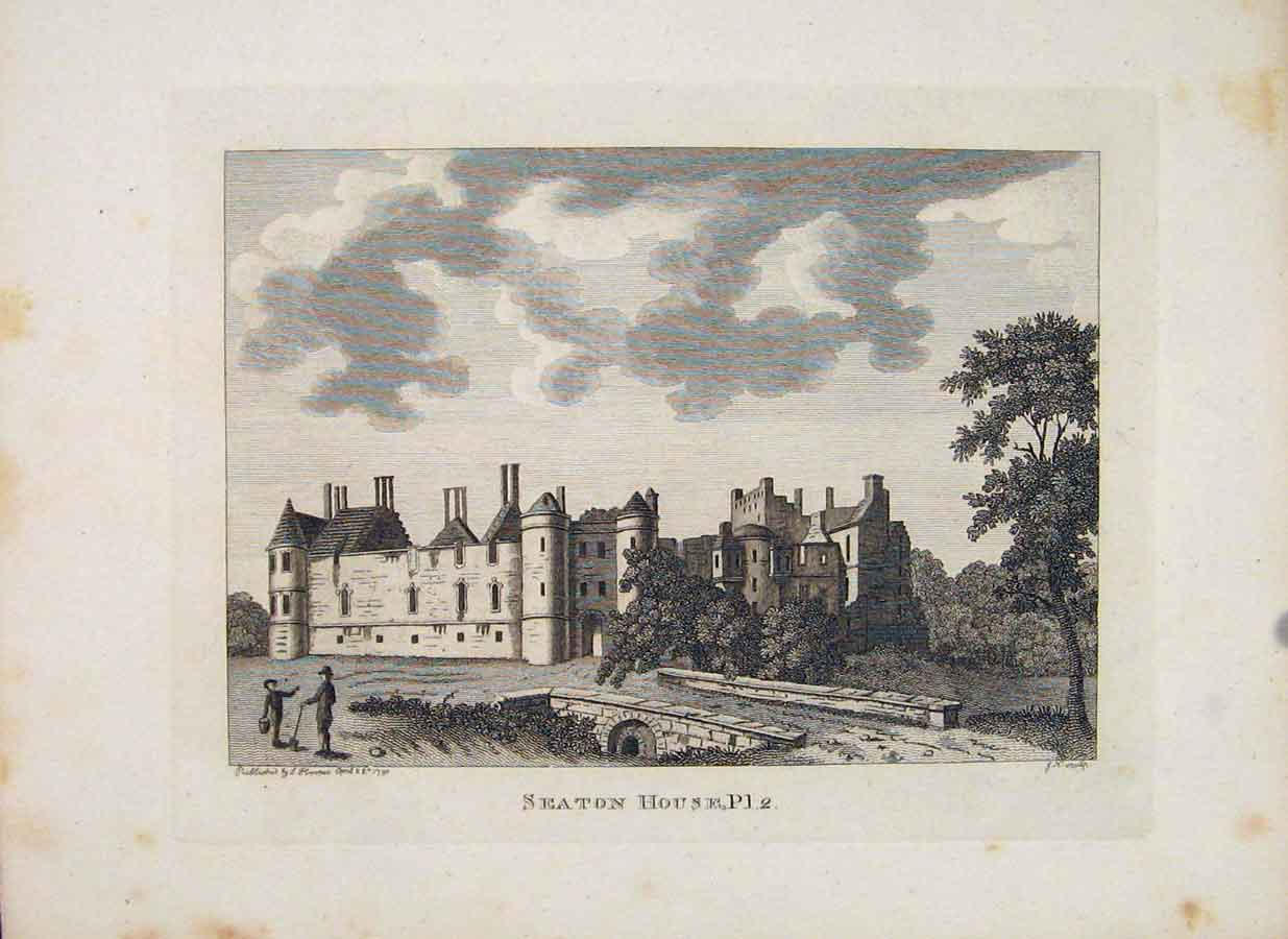 Print Scotland Seaton House Plate 2 Edinburgh 296651 Old Original